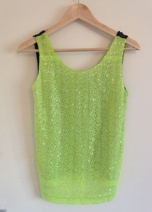 85862bf3 Going Out Tops, Sequin Top, Neon, Vests, Clothes For Women, Sequins