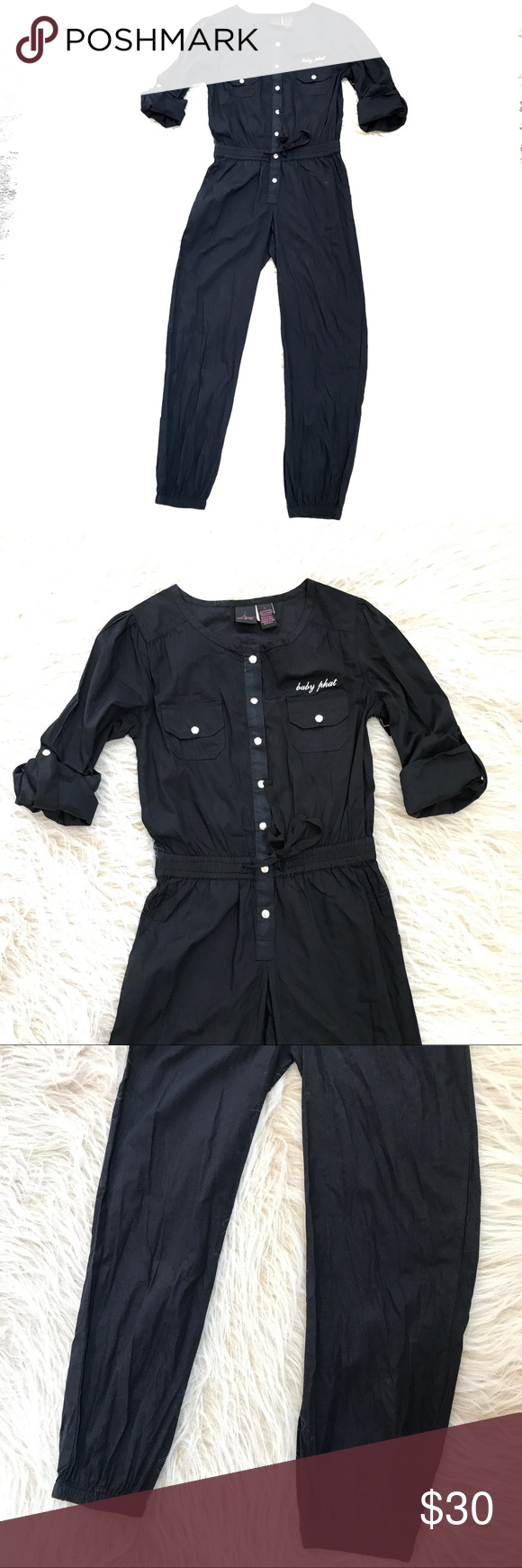 b9f5d363c Baby Phat girl black jumpsuit crop fit women small NWT