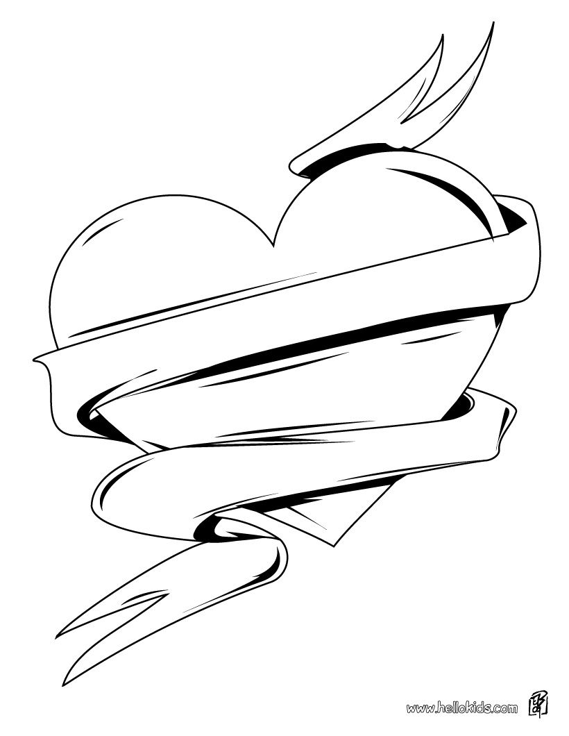 Hearts And Roses Coloring Pages | Love Heart coloring page - HEART ...