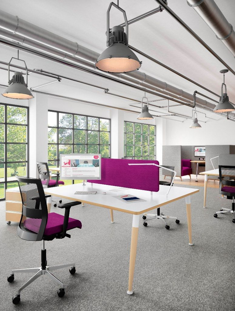 Modern industrial office space pink purple bright industrial