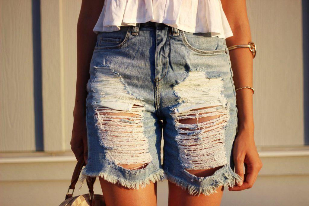 high waisted boyfriend jean shorts
