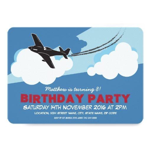 Airplane Blue Sky Clouds Custom Kids Birthday Card – Personalized Kids Birthday Cards