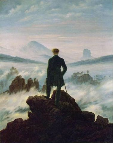"Painting: "" Wanderer Above the Sea and Fog,""  in the year 1818 By: Caspar David Friedrich, Germany"