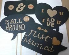 4PC Photo Booth Props Wedding Parties Speech Signs Just Married His & Hers