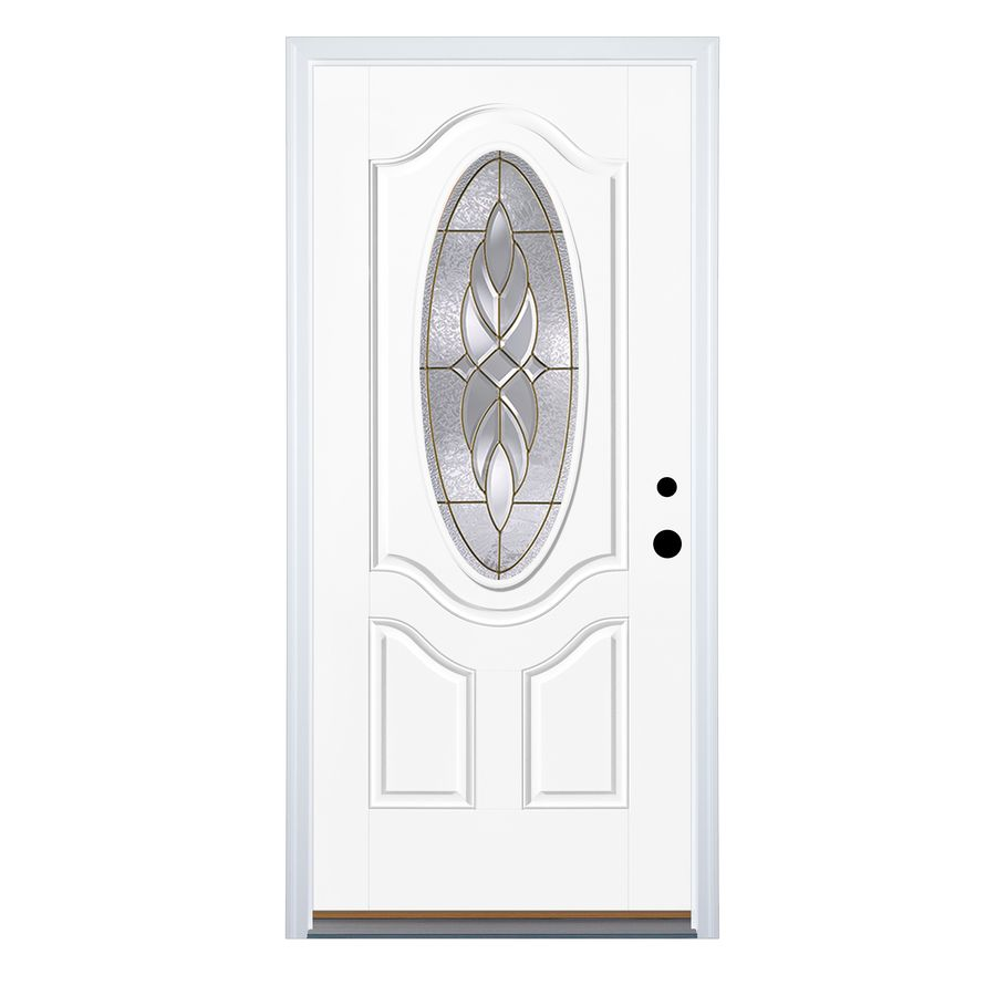 Therma Tru Benchmark Doors Varissa 2 Panel Insulating Core Oval Lite Left Hand Inswing Fiberglass Unfinished Preh Fiberglass Entry Doors Entry Doors Therma Tru