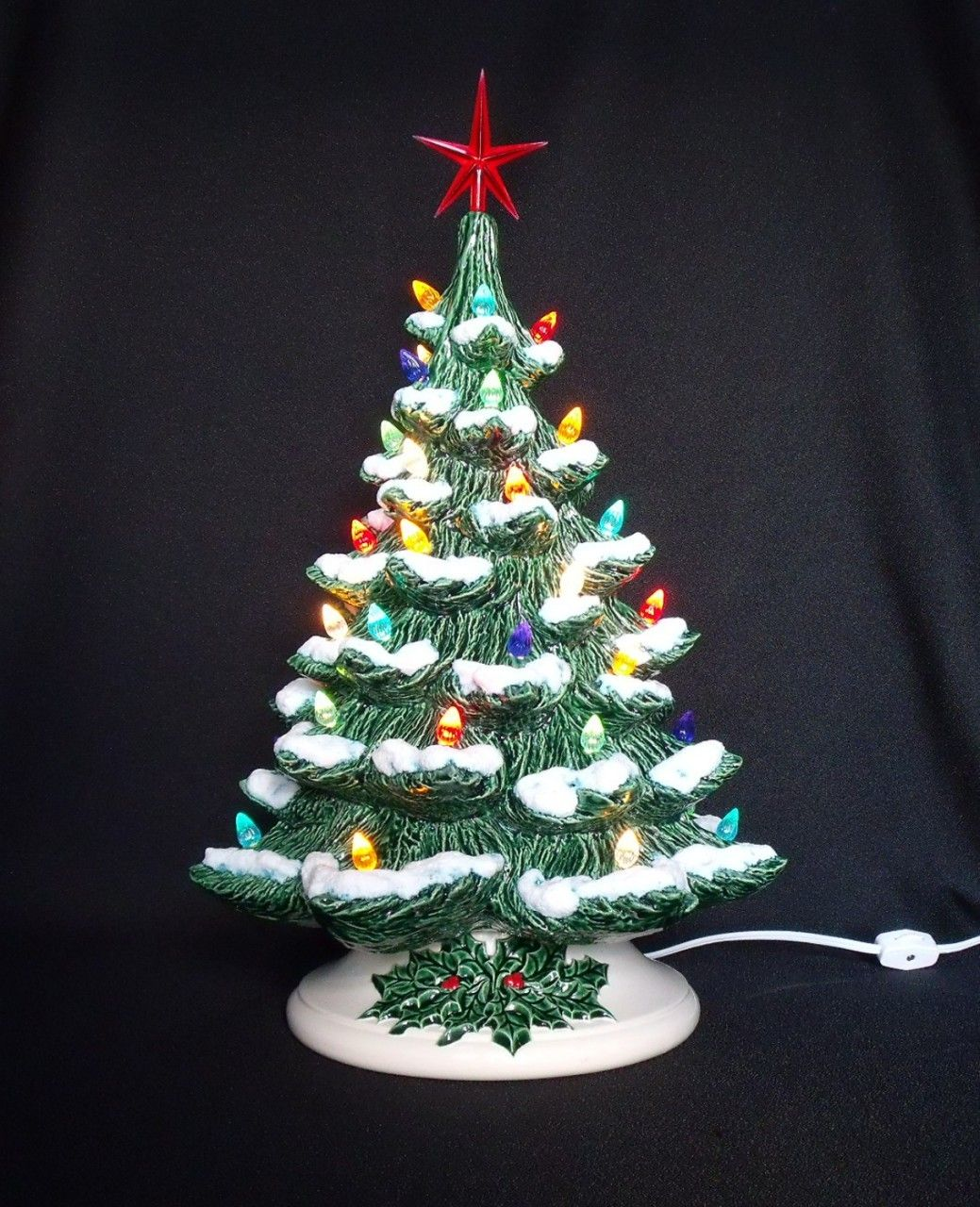 Old Fashioned Ceramic Christmas Tree with Snow 19 inches
