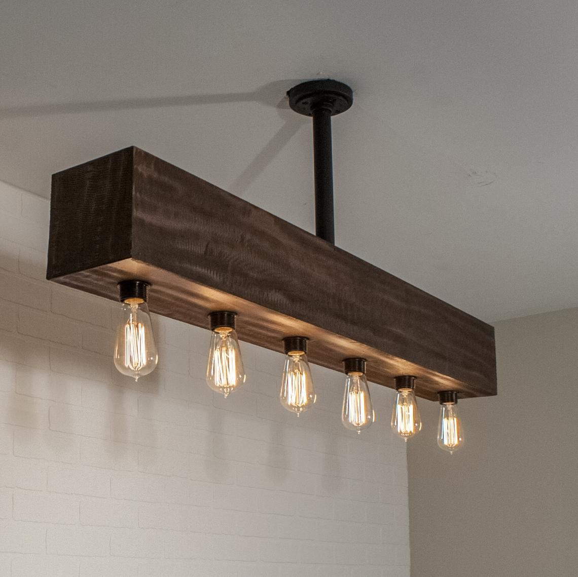 Industrial Lighting Wood Beam Light Fixture With 6 Inset Etsy