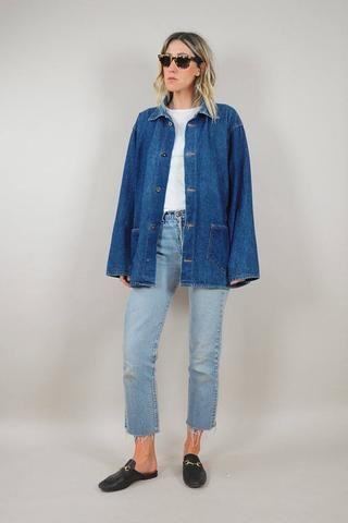 35dbda830 60's Oversized Denim Chore Coat | Fashion | Jeans style, Fashion ...