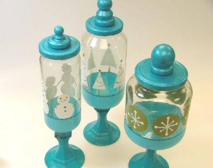 Diy Cute Christmas Jars Mason Jars Wood Knobs Paint