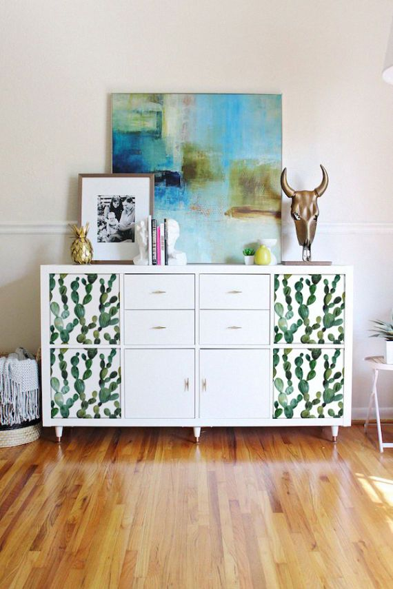 Decals For Stickers Ikea Kallax Expedit Green Cactus Boho Style Tropical Exotic Furniture L And Stick 5ka