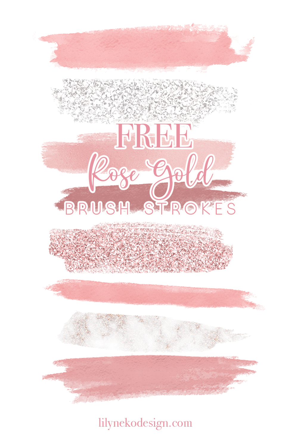 Free Rose Gold Brush Stroke Elements Lilynekodesignstudio Rose Gold Brushes Free Design Elements Planner Stickers