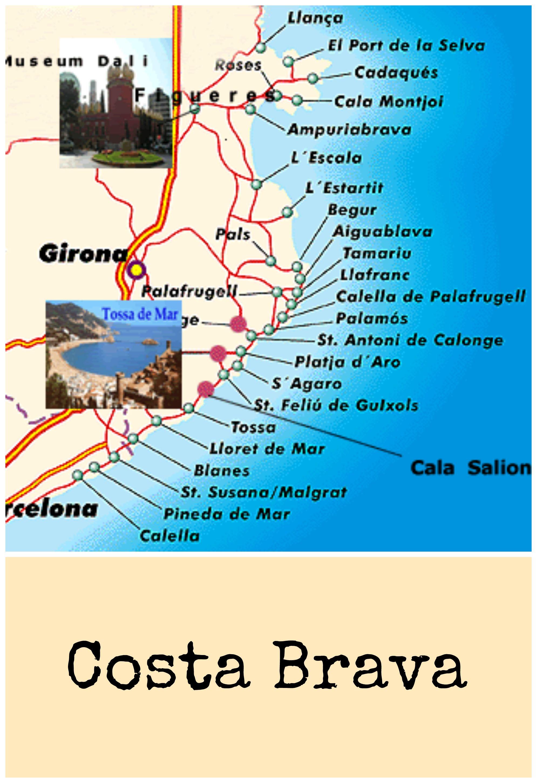 Mapa Costa Brava Spain Map Vacances Gironde Bon Voyage
