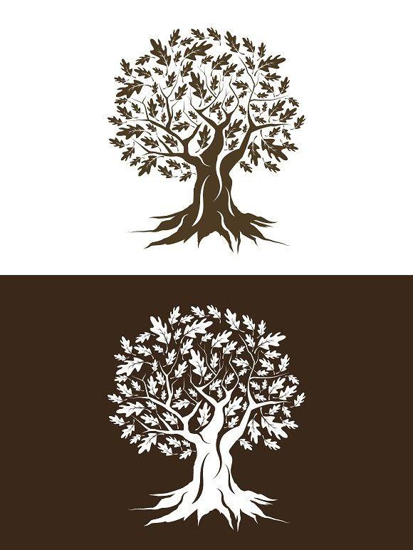 Vector Oak Tree Silhouette Oak Tree Drawings Oak Tree Tattoo Tree Drawing