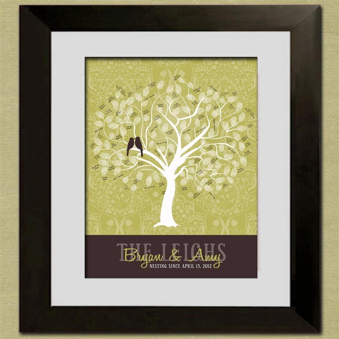 Wedding Guest Book Fingerprint Tree  Custom Sage Tree