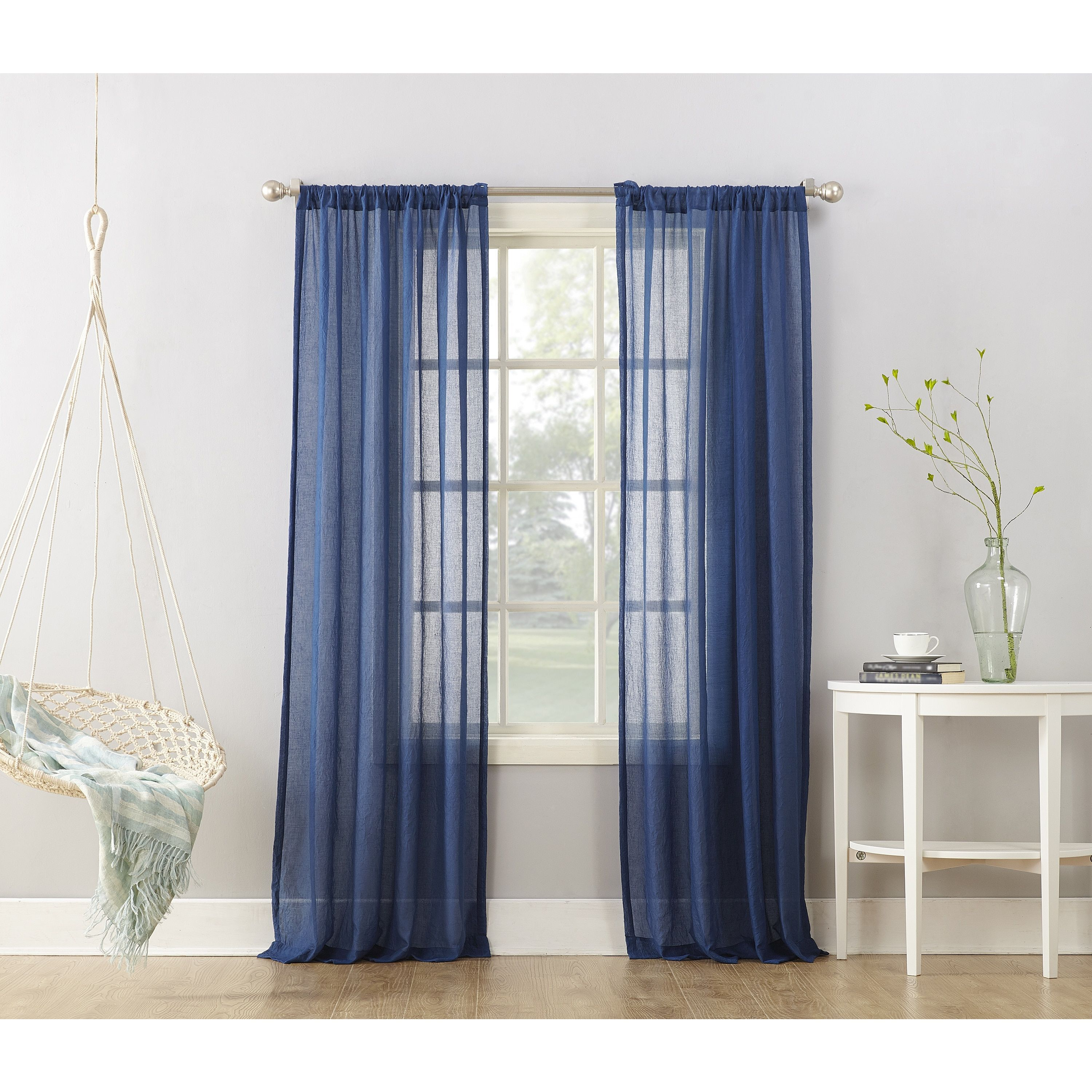 Window treatment ideas for 3 windows in a row  no  ladonna blue semisheer rod pocket curtain panel  inches