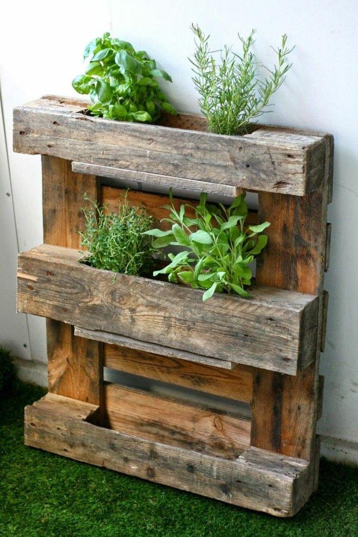 Gartendeko Basteln Naturmaterialien Paletten Wiederverwenden Für  Pflanzenbehält R