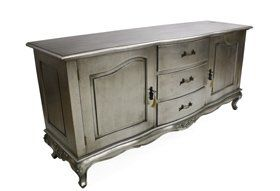 French Lila Shabby Chic Silver Glass Top Coffee Table Silver