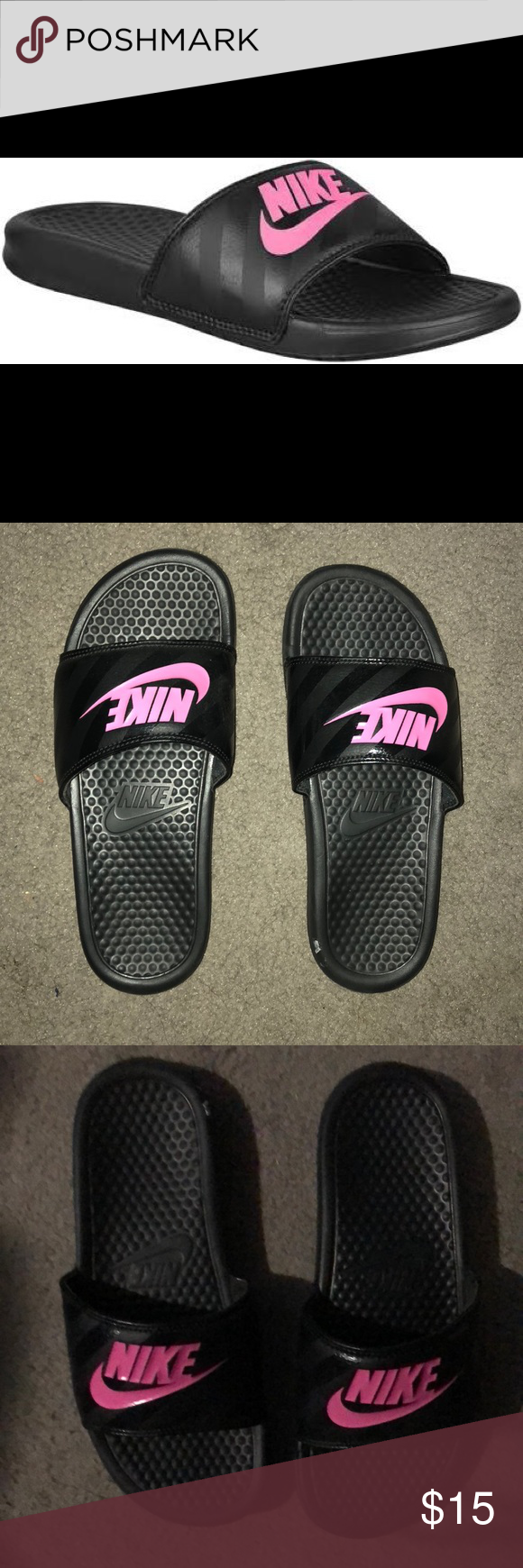 1d88378b6b5e Nike™ Black and Pink Slides Purchased from Modells gently worn!!! Shoes  Slippers