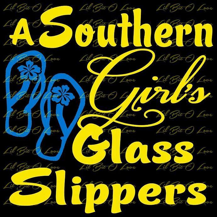2 Color Southern Girls Glass Slippers Flip Flops Derby Vinyl Decal Auto Vehicle Sticker Vinyl Decals Custom Decals Vinyl Decal Stickers