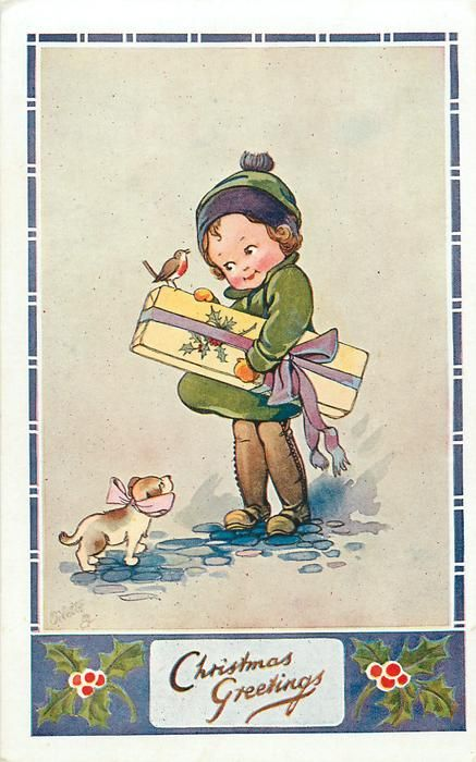 CHRISTMAS GREETINGS  child carries large parcel, puppy front