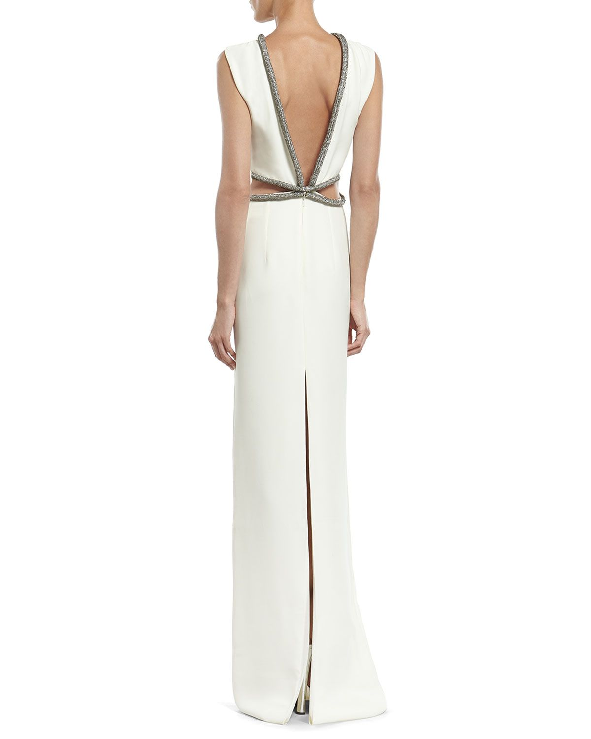 Neiman marcus dresses for weddings  Gucci White Silk Cady Gown with Crystal Tube Embroidery  vestido