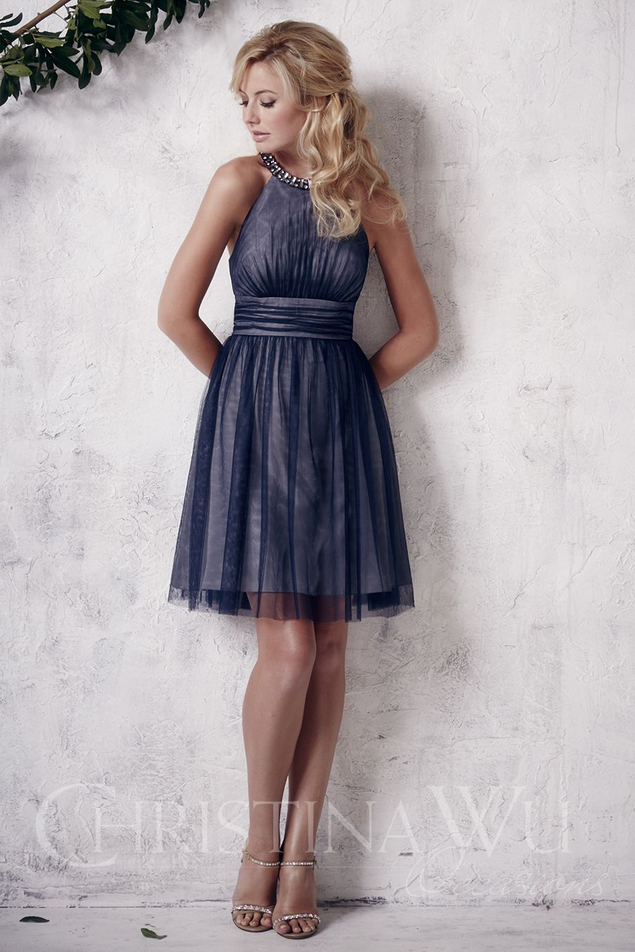 Christina Wu Occasions Short tulle dress with beaded chokerstyle
