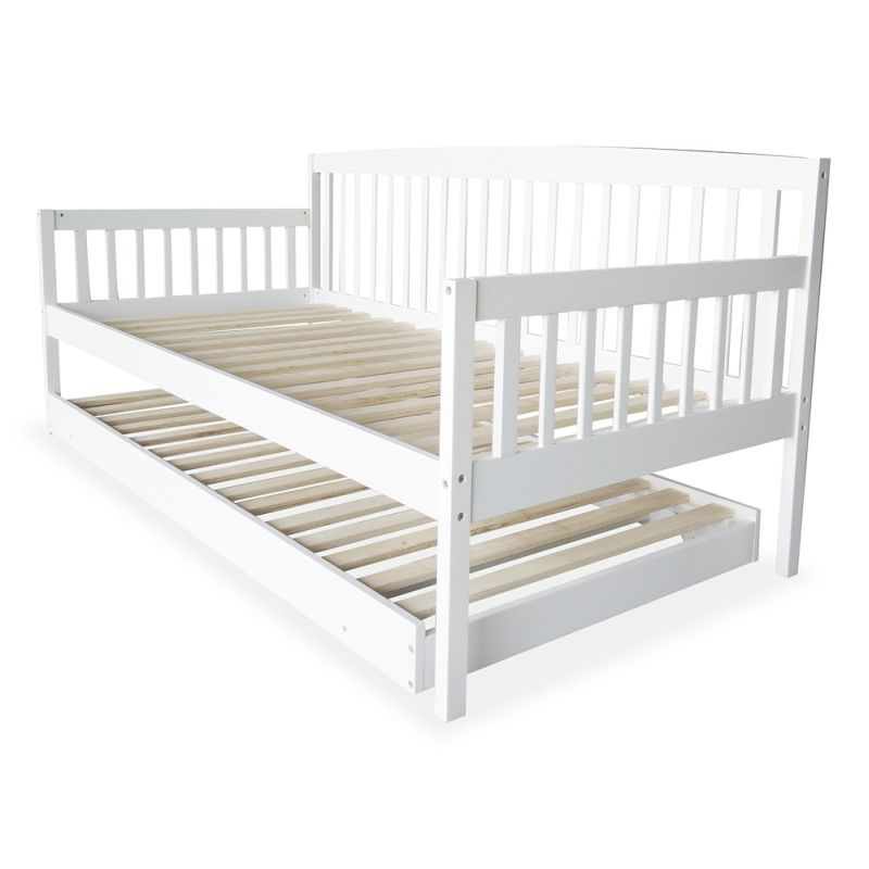 Nosara 2-in-1 Solid Pine Wooden Sofa and Trundle Bed - White | Bed ...