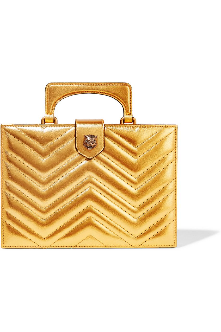c5f608feadf GUCCI Broadway Box quilted metallic leather clutch Gold leather (Lamb)  Magnetic fastening along top