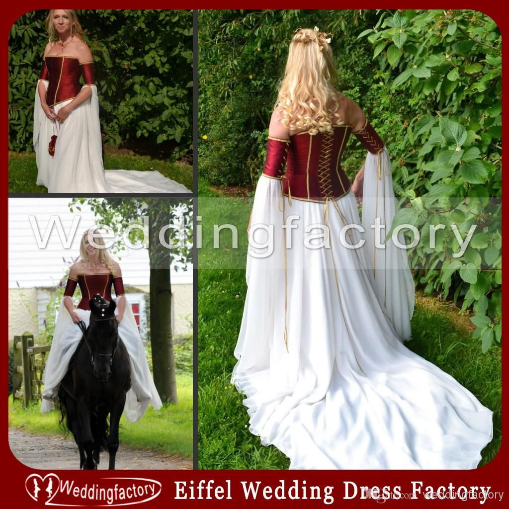 Dark Red And White Medieval Wedding Dresses A Line