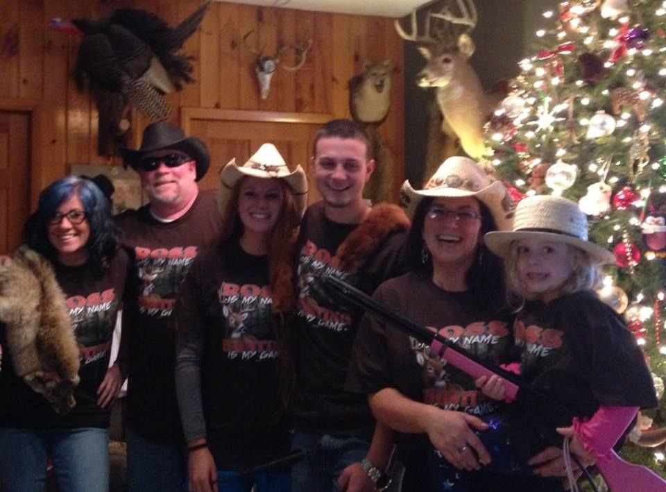 The Ross family in their personalized Hunting Game apparel! http://www.inkpixi.com/items/hunting-is-my-game/dark-chocolate/design