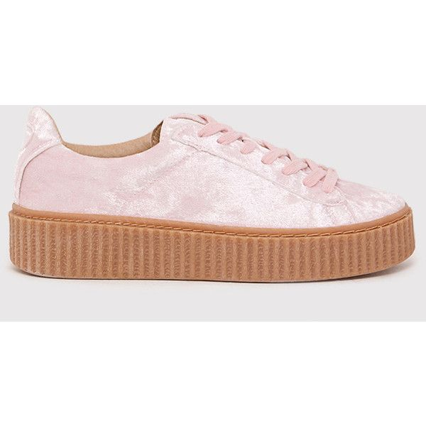 size 40 cffe9 227ff Anahita Blush Crushed Velvet Creeper Trainers ($30) ❤ liked ...