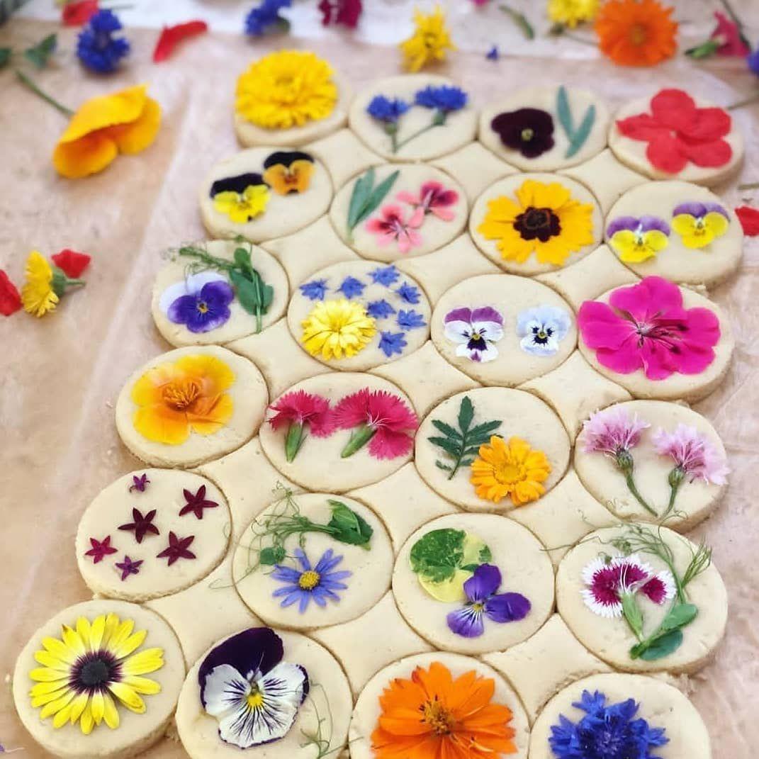 "Photo of COSMOPOLITAN Tyskland på Instagram: ""Nesten for godt til å gnage på, ikke sant? 😍🌼🌷 #rg @loriastern #handmade #cookies #edibleflowers #cookielovers #funfearlessfemale #cosmopolitan_de """