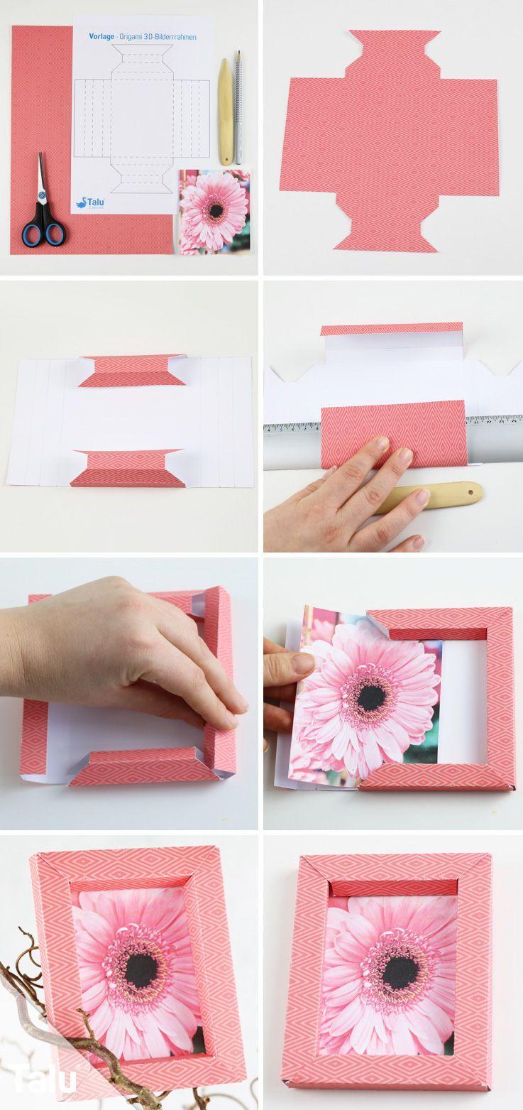 Photo of 3D-Bilderrahmen selber falten – Origami-Anleitung ohne Kleber,  #3DBilderrahmen #falten #Kleb…