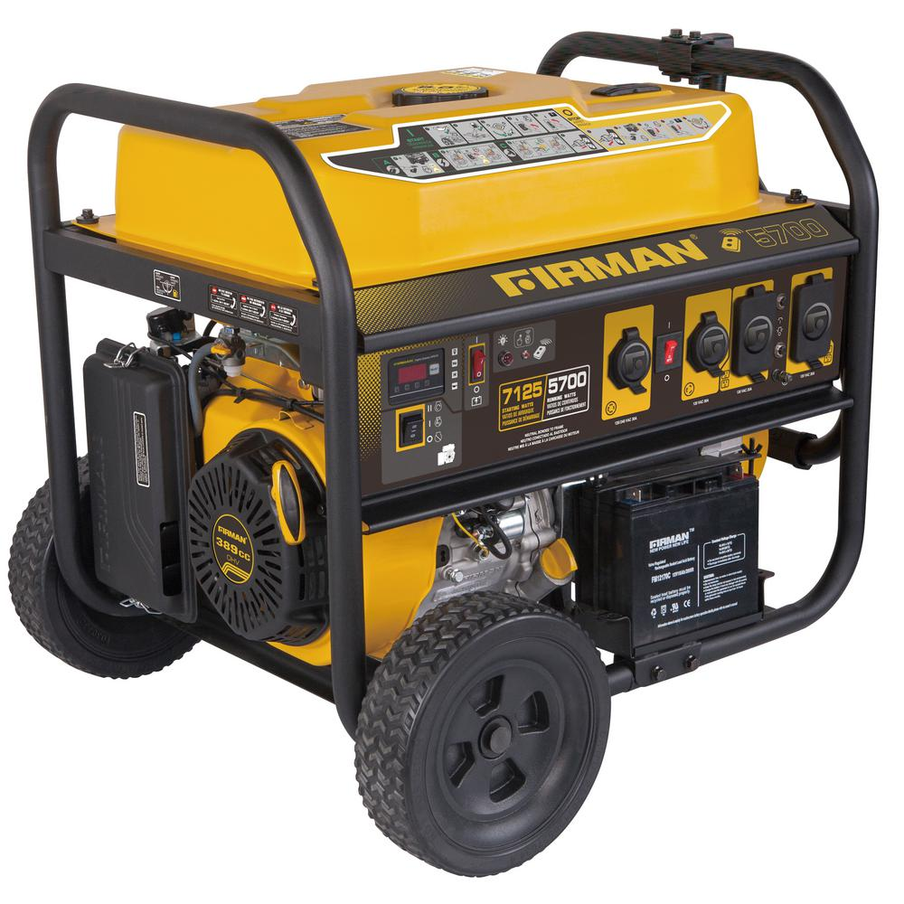 Firman 7100 5700 Watt 120 240v Remote Start Gas Portable Generator