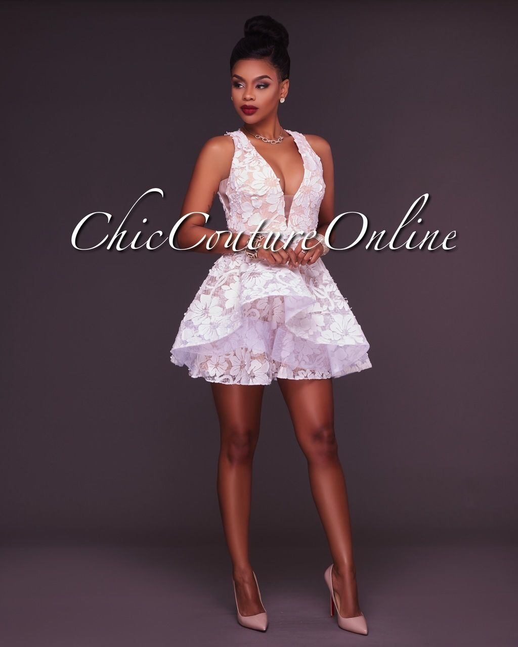 1c1970d903b4 Chic Couture Online - Blanche White Nude Lace Skater Dress, (http://