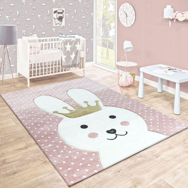 Kinderteppich Hase Mit Krone Pastell Rosa Kinderzimmer