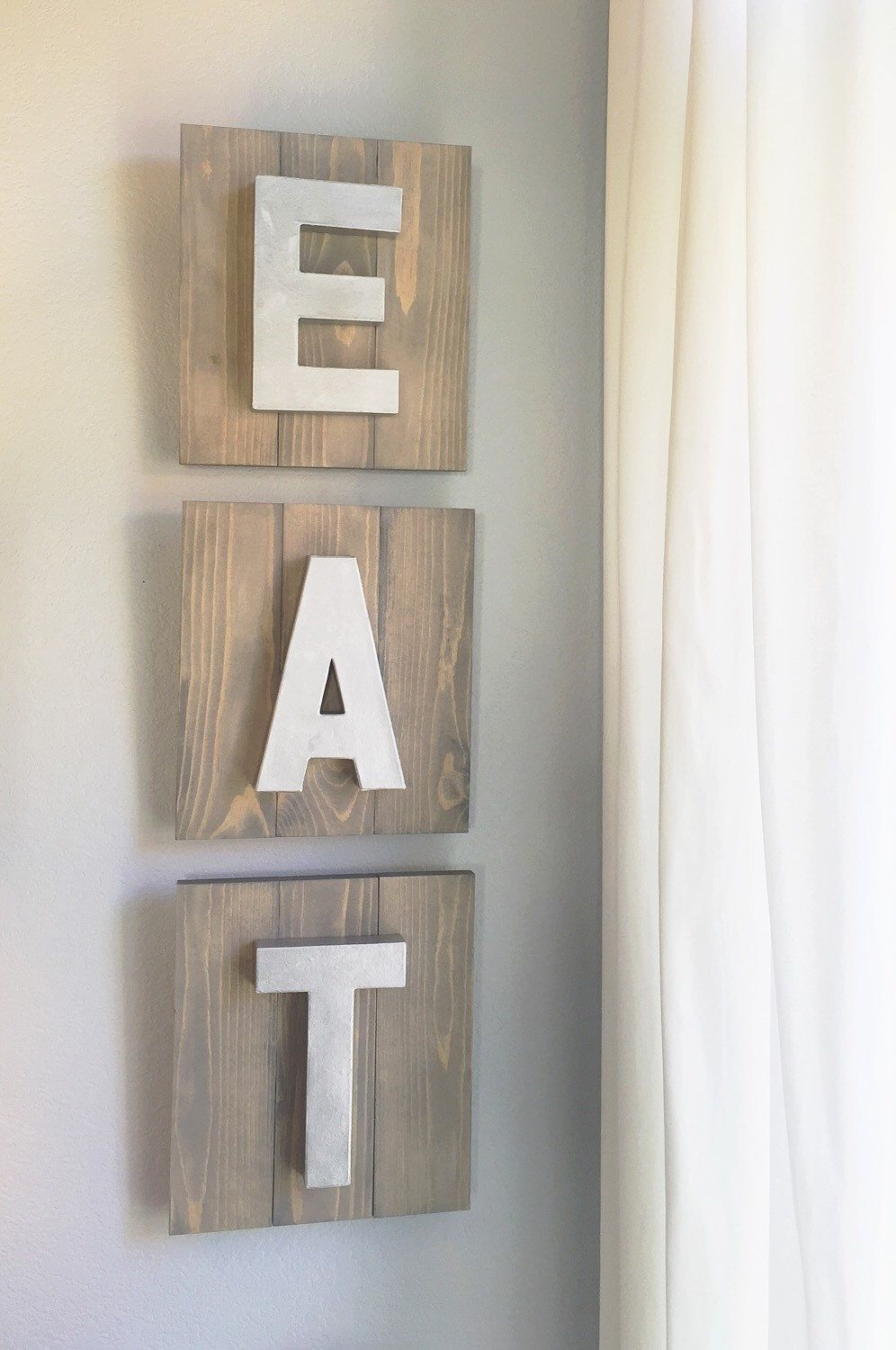 Three Piece Wooden Planked Quot Eat Quot Sign Set With Silver Metal Looking Letters Farmhouse Kitchen Signs Dining Room Decor Shiplap Wood