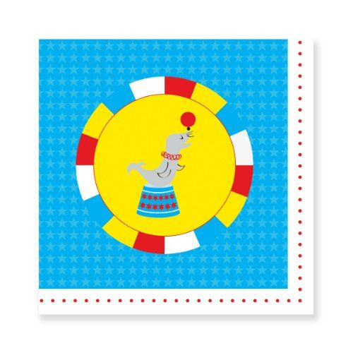 Party Partners Design Retro Big Top Circus Seal Napkins, Blue/Red, 20 Count carnival  birthday party for boy or girl / cumpleaños cumpleanos celebration