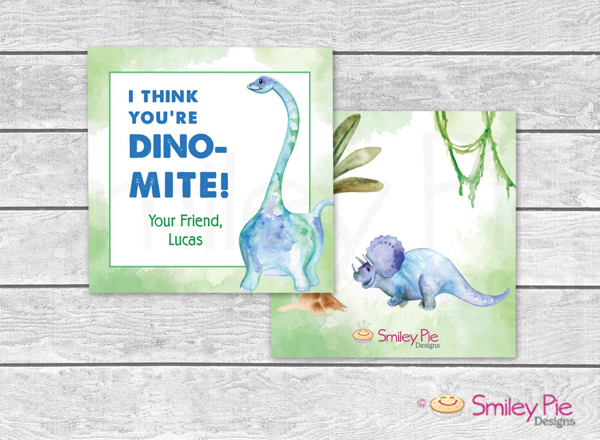 Valentine Cards Dinosaur Dino Mite Printable File Or