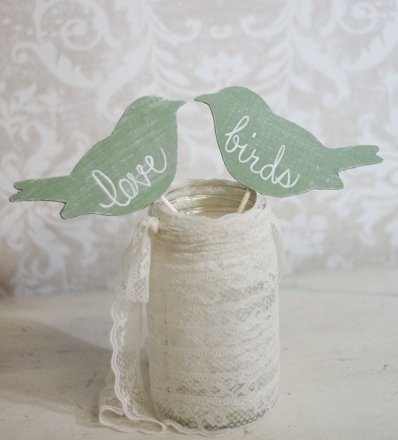 Custom Wedding Cake Topper Love Birds Shabby Chic by braggingbags ...