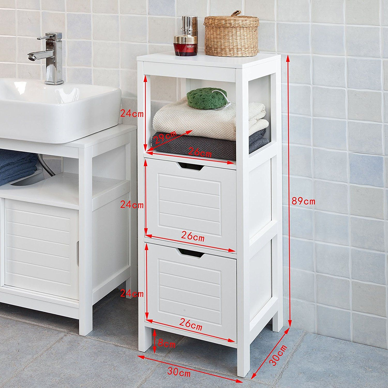 Amazon.com: Haotian FRG127-W, White Floor Standing Bathroom Storage ...