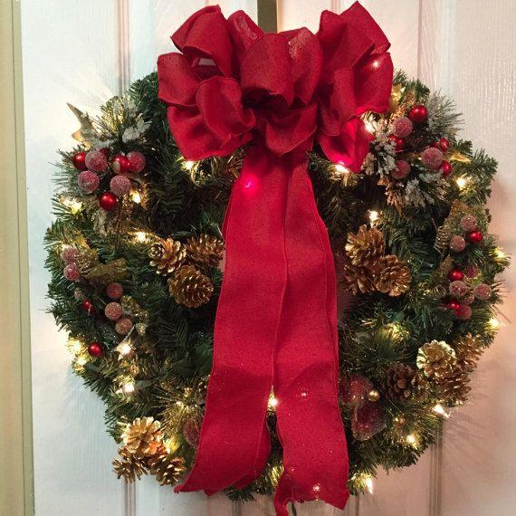 Xmas wreath, xmas decor, wreath with lights, Christmas wreath | Etsy ...