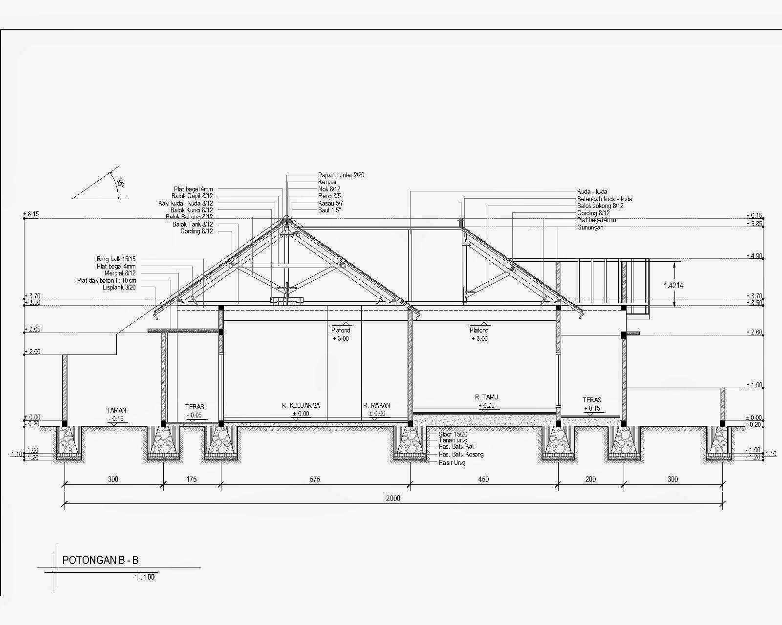 Contoh Gambar Denah Dan Potongan Rumah 1 Tugas Menggambar Rekayasa