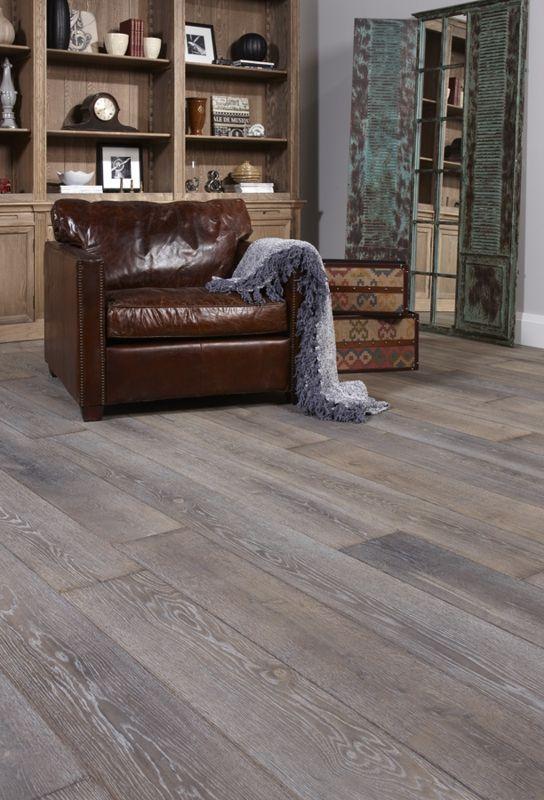 Gray Hardwood Floor With Leather Chair Wood Floors Wide Plank Grey Hardwood Floors Home