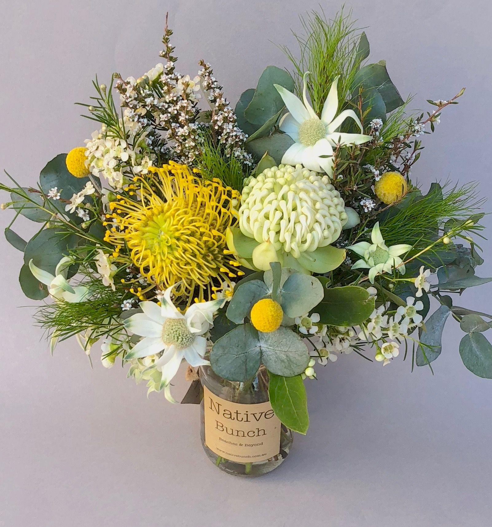 Yellow & white Native flower Posy jar 30 Waratahs
