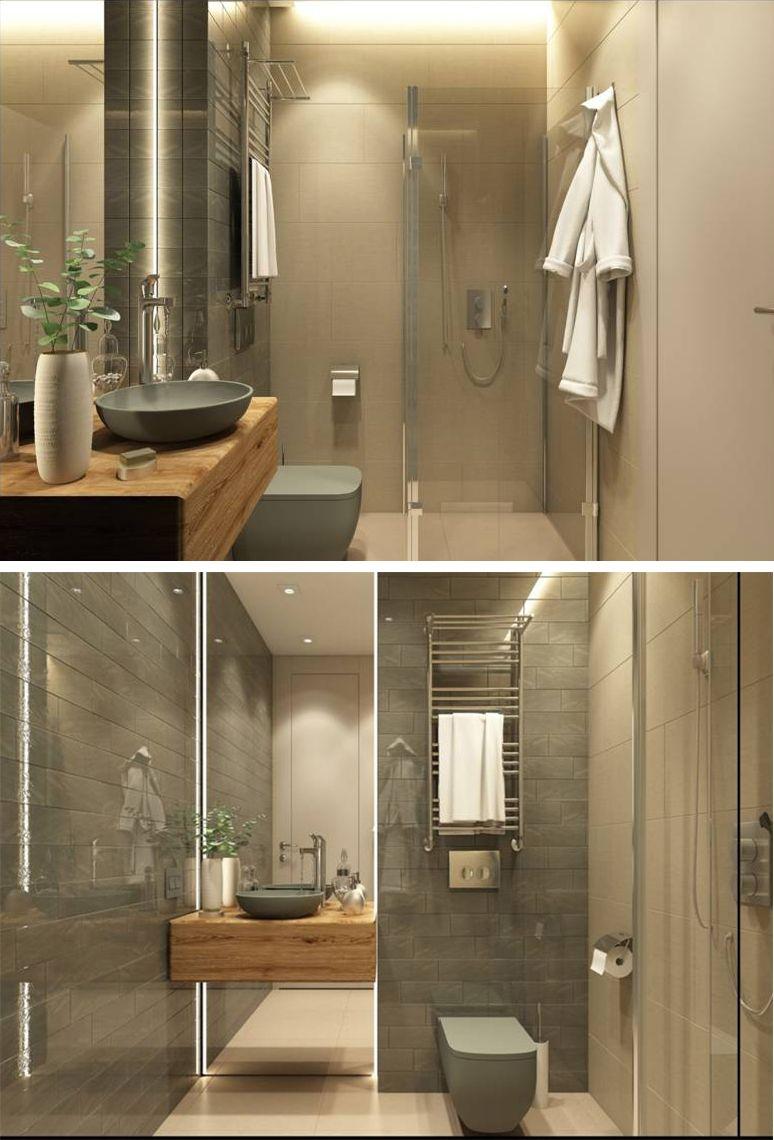Mid Century Modern Style Guest Bathroom By Anna Spirina Interior Design Course Student