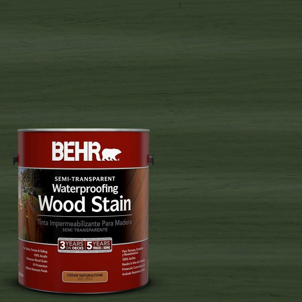 BEHR 1-gal. #ST-120 Ponderosa Green Semi-Transparent Waterproofing Wood Stain