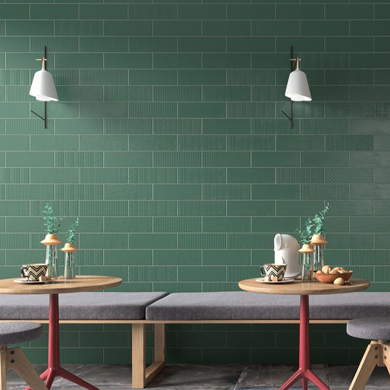 Contempo 4 X 12 Matte Green Blitz Deco Porcelain Wall Tile On Sale 4 39 Sq Ft In 2020 Porcelain Wall Tile Wall Tiles Deco