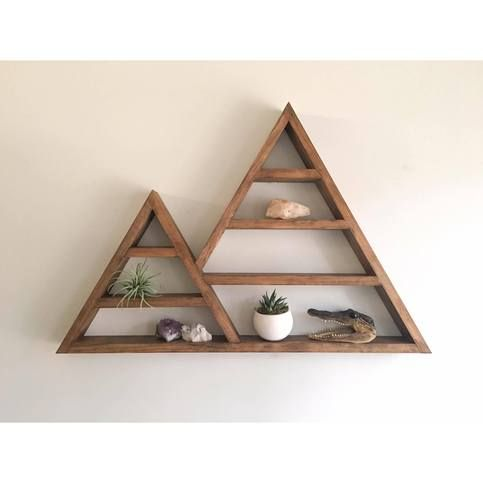 Warm Brown Large Wooden Double Triangle Shelf Geometric Shelf Crystal Alter Diy Wood Wall Decor Geometric Shelves Floating Shelf Decor