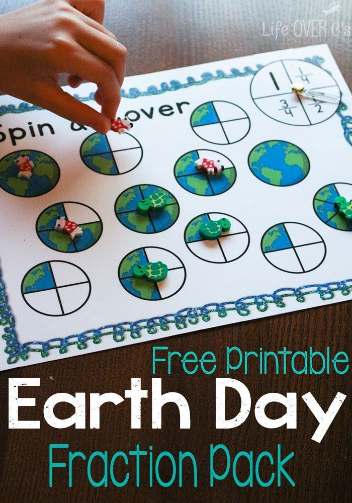 Earth Day Equivalent Fractions Free Printable | Earth, Activities ...